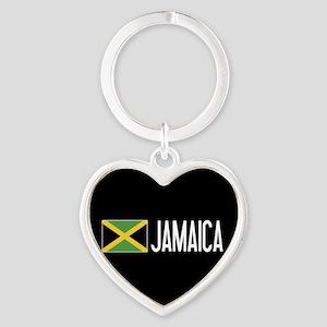 Jamaica: Jamaican Flag & Jamaica Heart Keychain