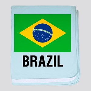 Flag of Brazil with Text baby blanket