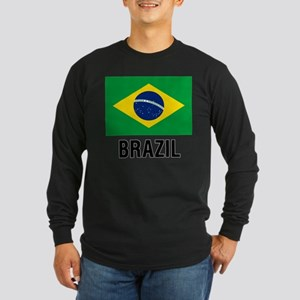 Flag of Brazil with Text Long Sleeve T-Shirt