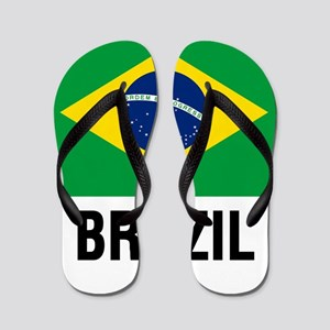 Flag of Brazil with Text Flip Flops