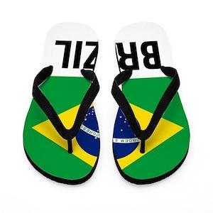 254afac0d Brazilian Flag Flip Flops - CafePress