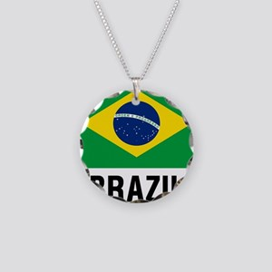 Flag of Brazil with Text Necklace Circle Charm