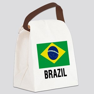 Flag of Brazil with Text Canvas Lunch Bag