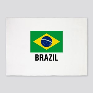 Flag of Brazil with Text 5'x7'Area Rug