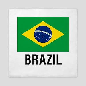 Flag of Brazil with Text Queen Duvet