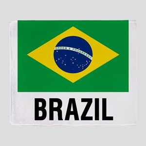 Flag of Brazil with Text Throw Blanket