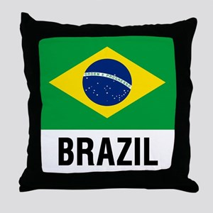 Flag of Brazil with Text Throw Pillow