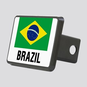 Flag of Brazil with Text Rectangular Hitch Cover