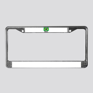 Flag of Brazil with Text License Plate Frame