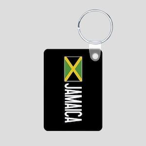 Jamaica: Jamaican Flag & J Aluminum Photo Keychain