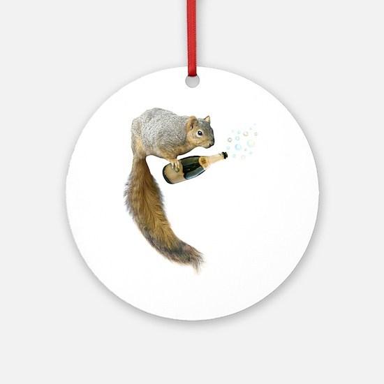 Squirrel Champagne Bubbles Round Ornament