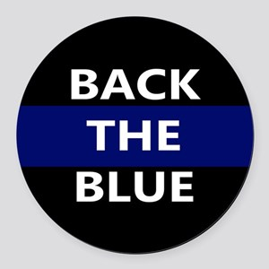 BACK THE BLUE Round Car Magnet