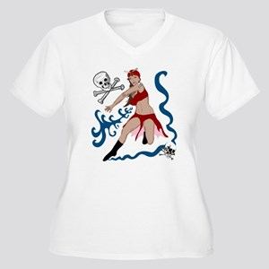 Pirate Pin-Up Women's Plus Size V-Neck T-Shirt