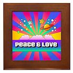 Psychedelic Peace & Love Framed Tile
