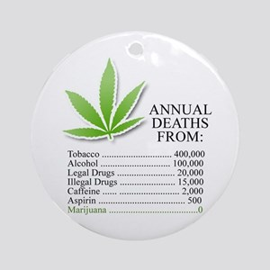 Annual deaths from Marijuana Ornament (Round)