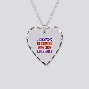 Jesus Is Coming Wing Chun Mar Necklace Heart Charm