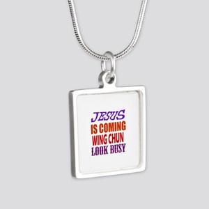 Jesus Is Coming Wing Chun Silver Square Necklace