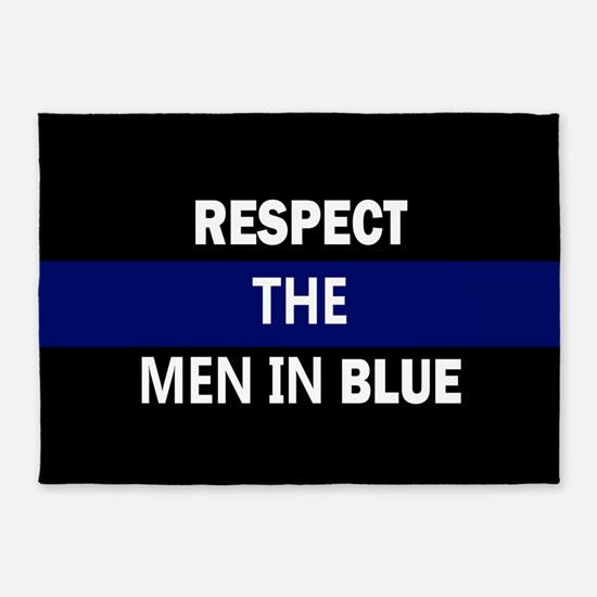respect the men in blue 5'x7'Area Rug
