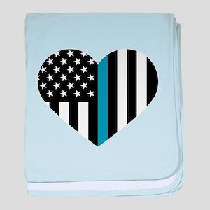 Thin Blue Line American Flag Heart baby blanket