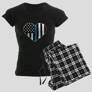 Thin Blue Line American Flag Women's Dark Pajamas