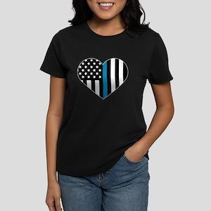 Thin Blue Line American Flag Heart T-Shirt