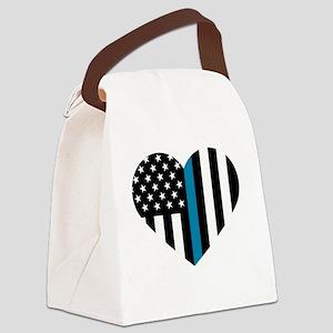 Thin Blue Line American Flag Hear Canvas Lunch Bag