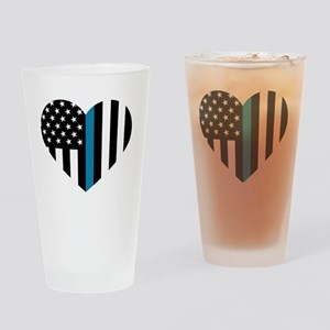 Thin Blue Line American Flag Heart Drinking Glass