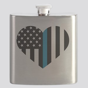 Thin Blue Line American Flag Heart Flask