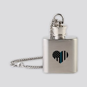 Thin Blue Line American Flag Heart Flask Necklace