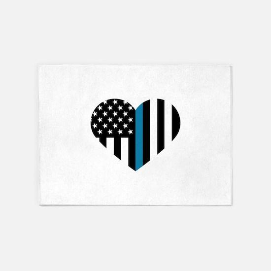 Thin Blue Line American Flag Heart 5'x7'Area Rug