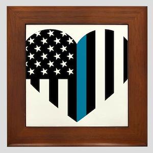 Thin Blue Line American Flag Heart Framed Tile