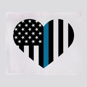 Thin Blue Line American Flag Heart Throw Blanket