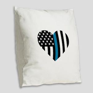 Thin Blue Line American Flag H Burlap Throw Pillow