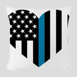 Thin Blue Line American Flag H Woven Throw Pillow
