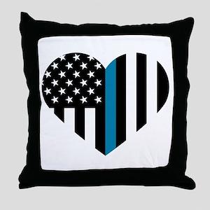 Thin Blue Line American Flag Heart Throw Pillow
