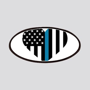 Thin Blue Line American Flag Heart Patch