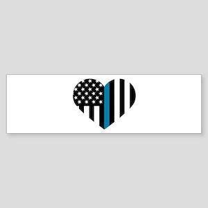 Thin Blue Line American Flag Heart Bumper Sticker