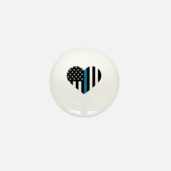 Thin Blue Line American Flag Heart Mini Button