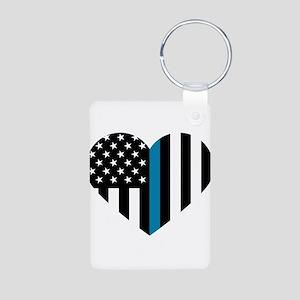 Thin Blue Line American Flag Heart Keychains