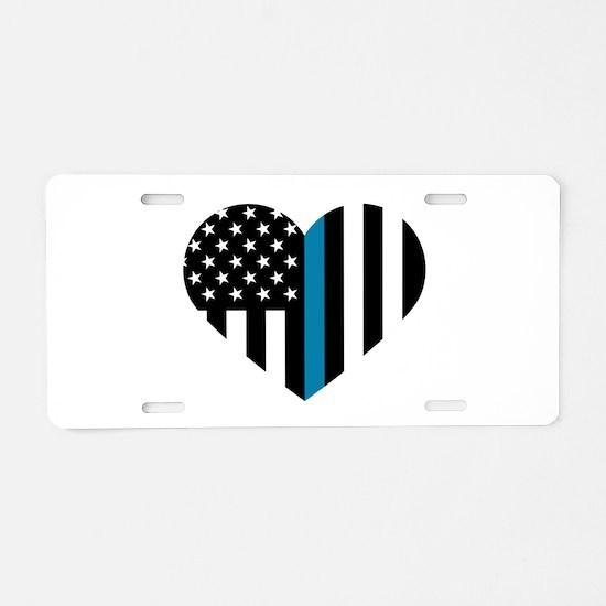 Thin Blue Line American Fla Aluminum License Plate
