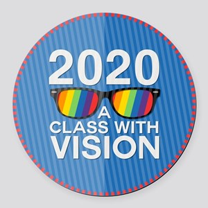 2020 A Class With Vision, Rainbow Round Car Magnet