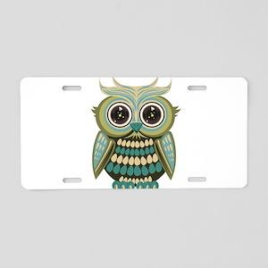 Star Eye Owl - Green Aluminum License Plate