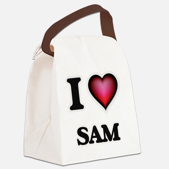 I love Sam Canvas Lunch Bag