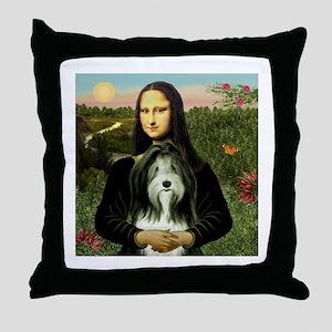 Mona Lisa & Beardie #9 Throw Pillow