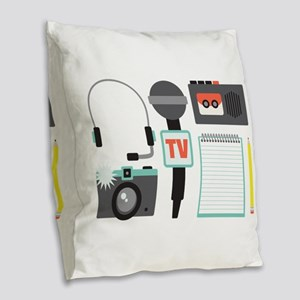 Reporter Burlap Throw Pillow