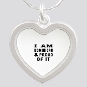 I Am Dominican And Proud Of Silver Heart Necklace