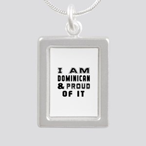 I Am Dominican And Proud Silver Portrait Necklace