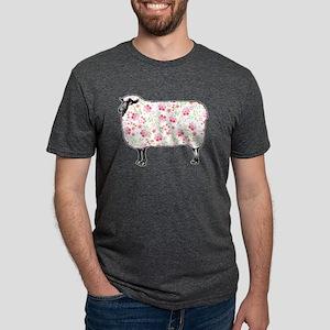 Floral Sheep Mens Tri-blend T-Shirt