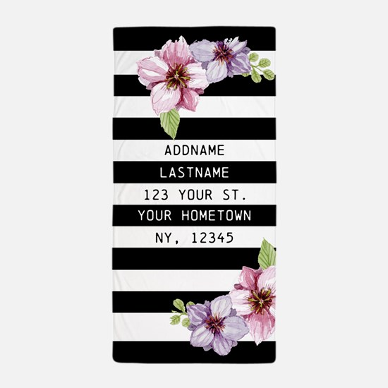 Painted Floral Personalized Girls Beach Towel