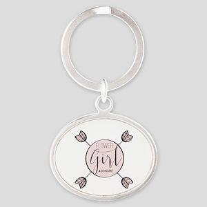 Flower Girl Personalized Oval Keychain